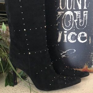 Casadei black studded knee boots